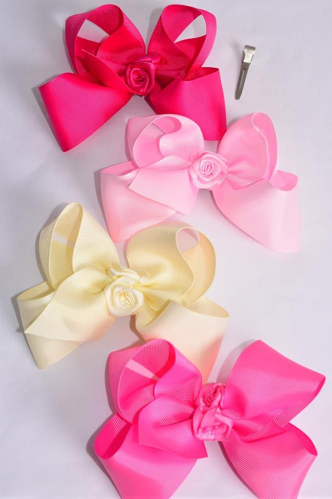"Hair Bow Jumbo Center Handcrafted Satin Roses Grosgrain Bow-tie Pink Mix/DZ **Pink Mix** Alligator Clip,Size-6""x 5"" Wide,3 Ivory,3 Pearl Pink,3 Hot Pink,3 Fuchsia Color Asst,Clip Strip & UPC Code"