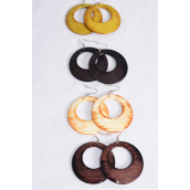 "Earrings Acrylic Circle Smooth Brush  Shiny Wood Finish/DZ match 26564 **Fish Hook** Size-2.25"" Wide,Finish 2 Sides,2 of each Color Asst,Earring Card & OPP bag & UPC Code"