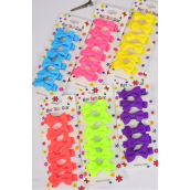 "Hair Bows 72 pcs Grosgrain Bowtie Caribbean Neon Mix/DZ **Caribbean Neon** Bow-tie Size-2""x 1"" Wide,2 of each color Mix,Display Card & Individual OPP bag & UPC Code,6 pecs per Card,12 Card= Dozen"