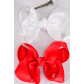 "Hair Bow Large Satin Red & White Mix/DZ **Red & White Mix** Alligator Clip, Size-4""x 3"" Wide,6 of each Color Asst,Clip Strip & UPC Code"