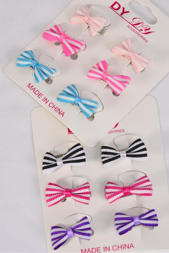 "Hair Bows Mini 36 pcs Candy Stripe Grosgrain Bowtie Pastel/DZ **Pastel** Alligator Clip,Bow-1""x 5/8"" Wide,6 of each Color Asst,6 pcs per card,12 card= Dozen,Display Card & UPC Code,PVC Box"
