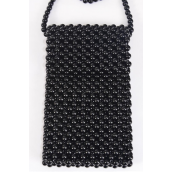 "Shoulder Bag Pearl Beaded Black/PC **Black** Handmade,Size-7""x 4.25"" Wide,OPP Bag & UPC Code"