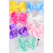 "Hair Bow Large Satin Pastel Asst/DZ **Pastel** Alligator Clip, Size-4""x 3"" Wide,2 White,2 Pink,2 Blue,2 Lavender,2 Yellow,1 Mint Green,1 Hot Pink,7 Color Asst,Clip Strip & UPC Code"