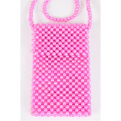 "Shoulder Bag Pearl Beaded Hot Pink/PC **Hot Pink** Handmade,Size-7""x 4.25"" Wide,OPP Bag & UPC Code"