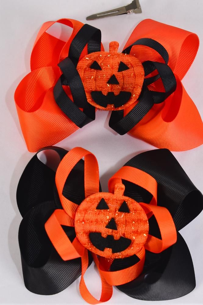 "Hair Bow Jumbo Halloween Jack O'lantern  Pumpkin Grosgrain Bow-tie/DZ **Alligator Clip**  Size-6""x 6"" Wide,6 of each Color Asst,Clip Strip & UPC Code"