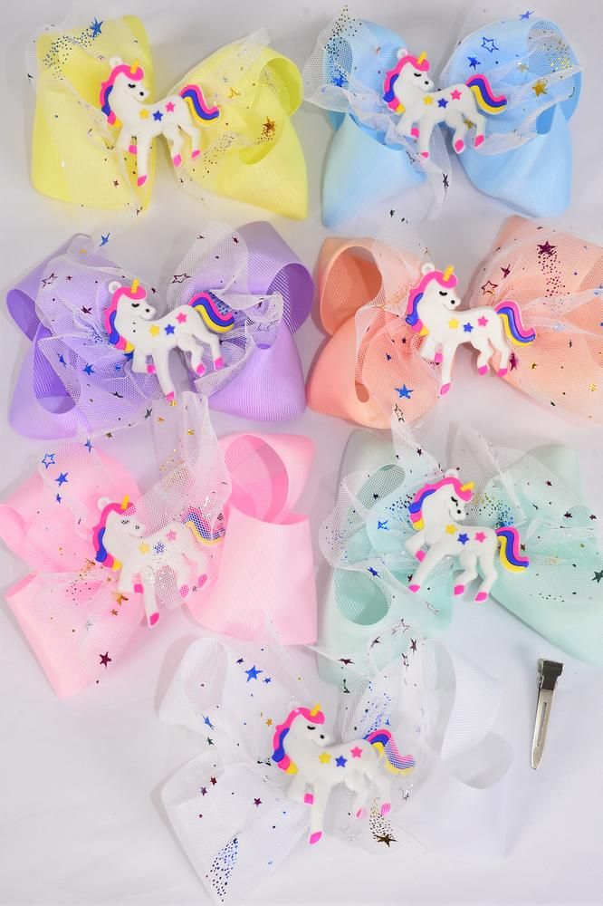"Hair Bow Jumbo Double Layered Unicorn Charm Star Hologram Pastel Grosgrain Bow-tie/DZ **Pastel** Stretch,Ballerina-2.75"" Wide, 2 White,2 Pink,2 Blue,2 Purple,2 Yellow,1 Peach,1 Mint Green,7 Color Mix,Clip Strip & UPC Code"