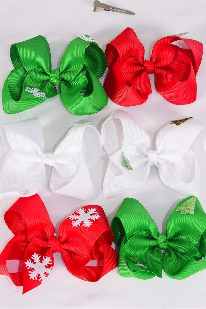 "Hair Bow Large Xmas Snow Flake & Tree Mix Alligator Clip/DZ **Alligator Clip** Size-5"" x 4"" Wide,2 of each Color & Style Asst,Clip Strip & UPC Code"