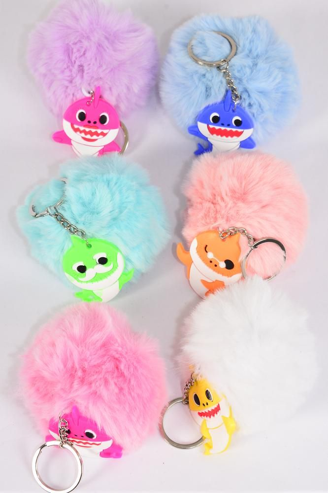 "key Chain Pom Pom Shark Pastel/dz **Pastel** Fur Ball Size-3"" Wide,2 White,2 Baby Pink,2 Blue,1 Hot Pink,2 Lavender,2 Peach,1 Mint Green Asst,OPP Bag & UPC Code"