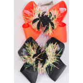 "Hair Bow Jumbo Halloween Pom Pom Iridescent Spider Grosgrain Bow-tie/DZ **Alligator Clip**  Size-6""x 6"" Wide,6 of each Color Asst,Clip Strip & UPC Code"