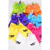 "Hair Bow Extra Jumbo Long Tail Cheer Type Bow Unicorn Flip Sequin Rainbow Citrus Grosgrain Bow-tie/DZ **Citrus** Alligator Clip,Size-7""x 6"" Wide,2 White,2 Fuchsia,2 Purple,2 Yellow,2 Blue,1 Lime,1 Orange,7 Color Asst,Clip Strip & UPC Code"
