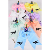 "Hair Bow Extra Jumbo Long Tail Cheer Type Bow Unicorn Flip Sequin Rainbow Horn Grosgrain Bow-tie Pastel/DZ **Pastel** Bow Size-7""x 6"" Wide,Alligator Clip,2 White,2 Baby Pink,2 Lavender,2 Blue,2 Yellow,1 Peach,1 Mint Green Asst,Clip Strip & UPC Code"