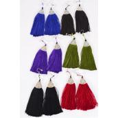"Earrings Fringe Tassels Drop Multi/DZ **Fish Hook** Size-2""x 1.5"" Wide,2 Black,2 Burgundy,2 Brown,2 Olive,2 Purple,2 Royal,6 Color Asst,Earring Card & OPP Bag & UPC Code"