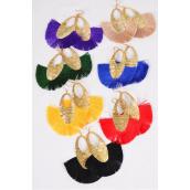 "Earrings Fringe Tassels Drop Oval Multi/DZ **Multi** Fish Hook,Size-3.25""x 3"" Wide,2 Black,2 Red,2 Purple,2 Green,2 Yellow,1 Royal,1 Khaki,7 Color Asst,Earring Card & OPP Bag & UPC Code"