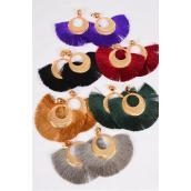 """Earrings Fringe Tassels Dark Multi/DZ **Clip On** Size-4.25""""x 3"""" Wide,2 Of each Color Asst,Earring Card & OPP Bag & UPC Code"""