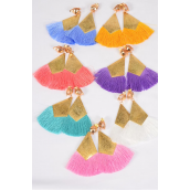 "Earrings Fringe Tassels Pastel Clip On/DZ **Clip On** Pastel,Size-3""x 2.5"" Wide,2 of each Color Asst,Earring Card & OPP Bag & UPC Code"