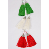 "Earrings XMAS Aztec Silver Glass Crystal Fringe Tassels Red & White & Green  Mix/DZ **Red & White &  Green** Fish Hook,Size-3""x 1.5"" Wide,4 of each Color Asst,Earring Card & OPP Bag & UPC Code"