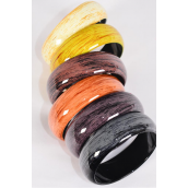 "Bracelet Bangle Acrylic Brush Stroke Gloss Wood Finish/DZ **Natural** Size-2.75""x 1"" Dia Wide,2 of each Color Asst,Hang Tag & Opp bag & UPC Code -"