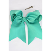 "Hair Bow Extra Jumbo Long Tail Cheer Type Bow Seafoam Grosgrain Bow-tie/DZ **Seafoam** Alligator Clip,Size-7x 6"" Wide,Clip Strip & UPC Code"