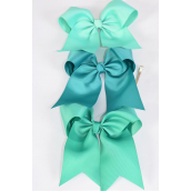 "Hair Bow Extra Jumbo Long Tail Cheer Type Bow Green Mix Grosgrain Bow-tie/DZ **Green Mix** Alligator Clip,Size-7""x 6"" Wide,4 of each Color Asst,Clip Strip & UPC Code"
