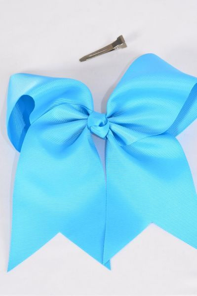 "Hair Bow Extra Jumbo Long Tail Cheer Type Bow Turquoise Grosgrain Bow-tie/DZ **Turquoise** Alligator Clip,Size-7""x 6"" Wide,Clip Strip & UPC Code"