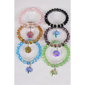 Charm Bracelet 10 mm Glass Crystal Enamel Charm Tree Of  Life Multi/DZ **Stretch** Multi, 2 of each Color Asst,Hang Tag & Opp Bag & UPC Code