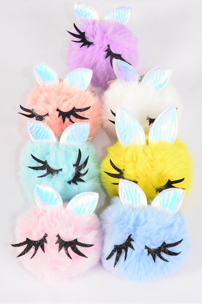 "Key Chain Pom Pom Bunny Ears Eyelash Pastel/DZ **Pastel** Fur Ball Size-3"" Wide,2 White,2 Pink,2 Blue,2 Yellow,2 Lavender,1 Peach,1 Mint Green Asst,OPP Bag & UPC Code"
