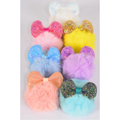 "key Chain Pom Pom Glitter Cat Ears Pastel/dz **Pastel** Fur Ball Size-3"" Wide,2 White,2 Pink,2 Blue,2 Yellow,2 Lavender,1 Peach,1 Mint Green Asst,OPP Bag & UPC Code"