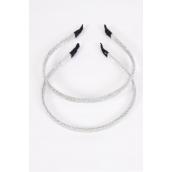 Headband Horseshoe Mesh Headband Silver/DZ **Silver** OPP Bag & UPC Code