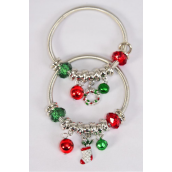 Charm Bracelet XMAS Enamel Stocking & Wreath Charm Mix/DZ **Stretch** 6 Of each Color Asst,Hang Tag & Opp Bag & UPC Code