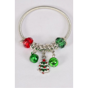Charm Bracelet XMAS Enamel Tree Charm/DZ **Stretch** Hang Tag & Opp Bag & UPC Code