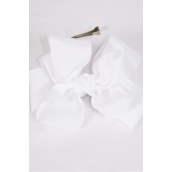 """Hair Bow Cheer Type Bow Double Layered Grosgrain Bow-tie White/DZ **White** Alligator Clip,Size-6""""x 5"""" Wide,Clip Strip & UPC Code"""