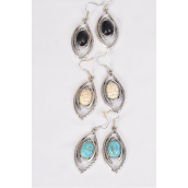 "Earrings Metal Antique Aztec Semiprecious Stone/DZ **Fish Hook** Size-1.5""x 1"" Wide,4 Black,4 Ivory,4 Turquoise Asst,Earring Card & OPP Bag & UPC Code -"