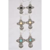 "Earrings Metal Antique Cross Semiprecious Stone/DZ **Fish Hook** Size-1.75""x 1.25"" Wide,4 Black,4 Ivory,4 Turquoise Asst,Earring Card & OPP Bag & UPC Code"