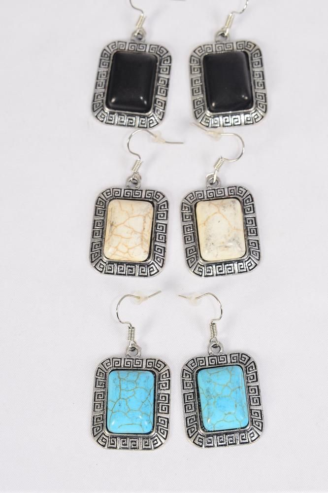 "Earrings Metal Antique Oblong Semiprecious Stone/DZ match 26096 **Fish Hook** Size-1.25""x 1"" Wide,4 Black,4 Ivory,4 Turquoise Asst,Earring Card & OPP Bag & UPC Code -"