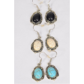 "Earrings Metal Antique Oval Semiprecious Stone/DZ **Fish Hook** Size-1""x 0.75"" Wide,4 Black,4 Ivory,4 Turquoise Asst,Earring Card & OPP Bag & UPC Code -"