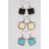 "Earrings Metal Antique Square Semiprecious Stone/DZ **Fish Hook** Size-1"" Wide,4 Black,4 Ivory,4 Turquoise Asst,Earring Card & OPP Bag & UPC Code -"