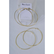 "Earrings Metal Hoop Gold 8 cm Wide/DZ **Gold**Size-3"" Wide,Earring Card & OPP Bag & UPC Code"