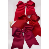 "Hair Bow Extra Jumbo Long Tail Cheer Type Bow Burgundy Alligator Clip Grosgrain Bow-tie/DZ **Burgundy & Wine Mix** Alligator Clip,Size-6.5""x 6"" Wide,4 Scarlet,4 Burgundy,4 Wine Color Asst,Clear Strip & UPC Code"