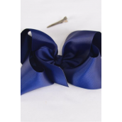 "Hair Bow Jumbo Navy 6""x 5"" Grosgrain Bowtie/DZ **Navy** Alligator Clip,Size-6""x 5"" Wide,Clip Strip & UPC Code"