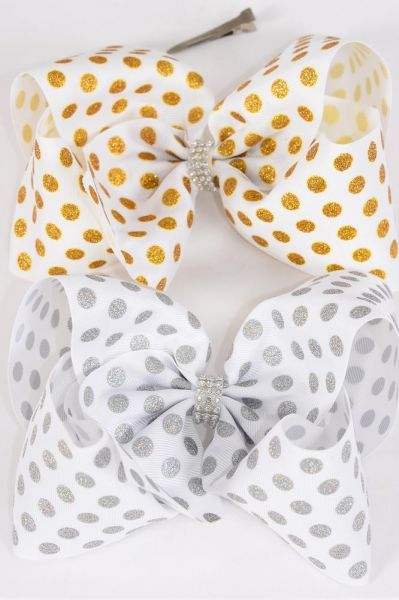 "Hair Bow Cheer Type Bow Glitter Polkadots Center Clear Stones Grosgrain Bow-tie/DZ **Alligator Clip** Size-8""x 7"" Wide,6 of each Color Asst,Clip Strip & UPC Code"
