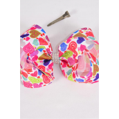 """Hair Bow Jumbo Love Colorful Hearts Center Clear Stones Grosgrain Bow-tie 2 Style Mix/DZ **Alligator Clip** Size-6""""x 5"""" Wide,Clip Strip & UPC Code"""