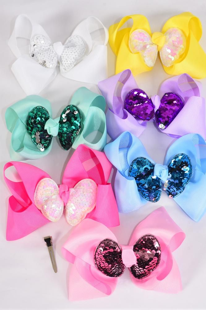 "Hair Bows Jumbo Double Layered Flip Sequin Pastel Grosgrain Bow-tie/DZ **Pastel** Alligator Clip,Size-6""x 6"" Wide,2 White,2 Pink,2 Blue,2 Yellow,2 Lavender,1 Hot Pink,1 Mint Green,7 Color Asst,Clip Strip & UPC Code"