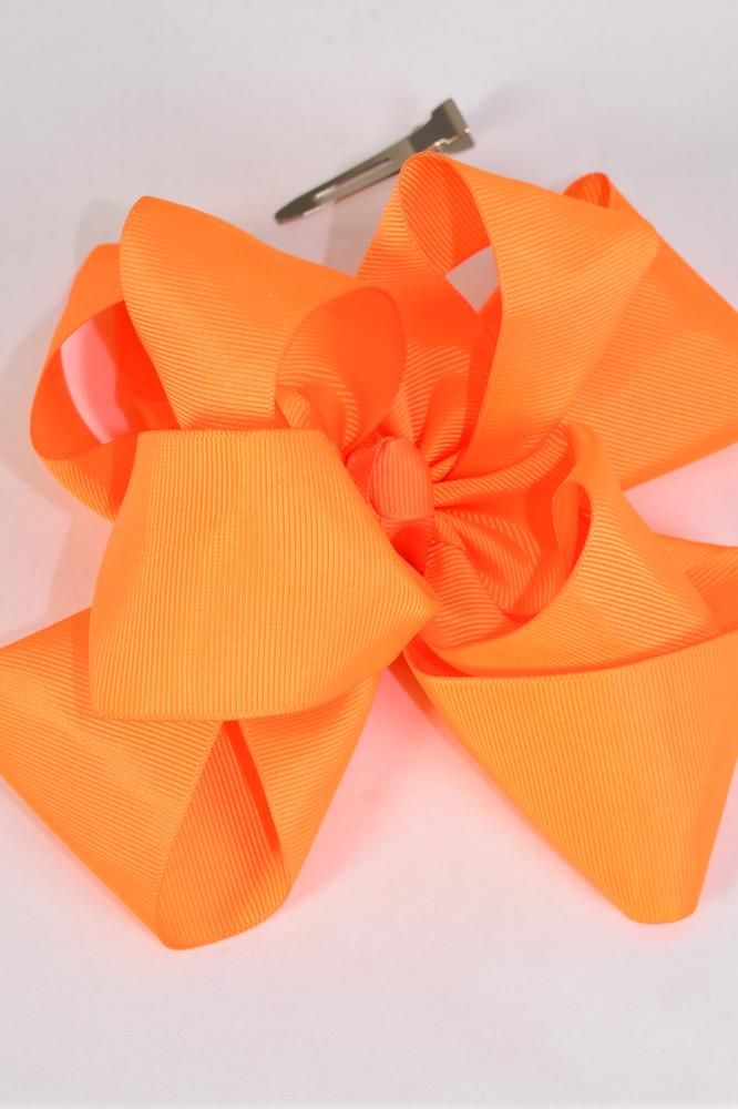 "Hair Bow Jumbo Windmill Cheer Bow Type Double Layer Orange Grosgrain Bow/DZ **Orange** Alligator Clip,Size-7""x 7"" Wide,Clip Strip & UPC Code"