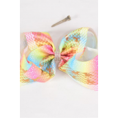 "Hair Bow Jumbo Cheer Type Bow Pastel Metallic Holographic Unicorn Center Clear Stone Grosgrain Bow-tie/DZ **Alligator Clip** Size-8""x 7"" Wide,Clip Strip & UPC Code"