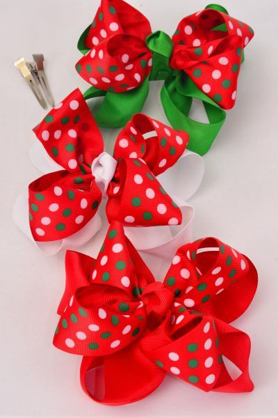"Hair Bow Jumbo XMAS Double Layered Polkadots Double Bow Grosgrain Bow tie/DZ **Alligator Clip** Size-6""x 6"" Wide,4 of each Color Asst,Clip Strip & UPC Code"