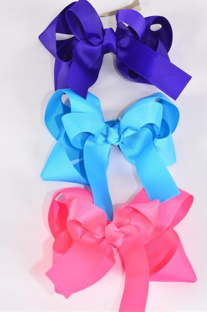 Hair Bow Extra Jumbo Double Layered Bright Multi Grosgrain Bowtie/DZ **Bright Multi** Alligator Clip,Bow-6 x 6 Wide,4 of each Color Asst,Clip Strip & UPC Code