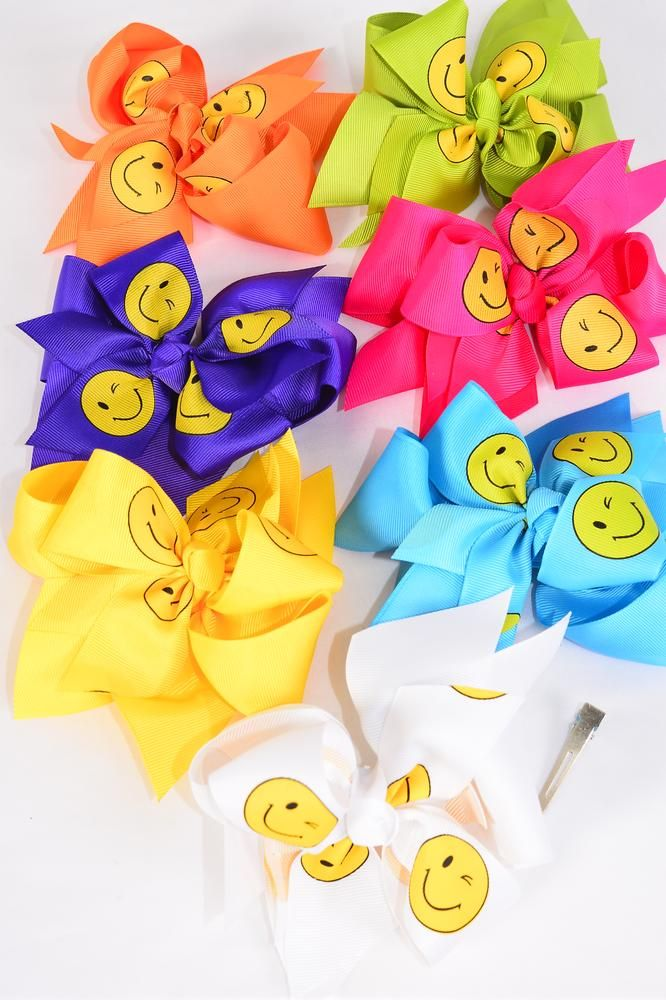 "Hair Bow Jumbo Emoji Double Layered Grosgrain Bow-tie Citrus/DZ **Citrus** Size-6""x 6"" Wide,Alligator Clip,2 Fuchsia,2 Blue,2 Yellow,2 Purple,2 White,1 Lime,1 Orange,7 Color Mix,Clip Strip & UPC Code"