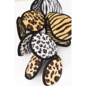 "Ear Muff Fleece Adult Size Animal Print Mix Flexible/DZ **Animal Print Mix** Size-4.25"",Flexible,3 Large Leopard,3 Gray Leopard,2 of other Color Asst,Hang Tag & UPC Code"