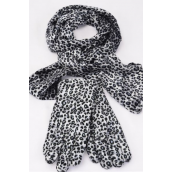 "Velvet Scarf & Glove Matching Sets Leopard Print/Sets **Gray** Scarf Size-60""x 6"" Wide,Opp Bag & UPC Code & Hook"