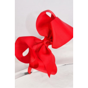 "Headband Horseshoe Jumbo Grosgrain Bow-tie Red/DZ **Red** Bow Size-5""x 6"" Wide,Hang Tag & UPC Code,Clear Box"